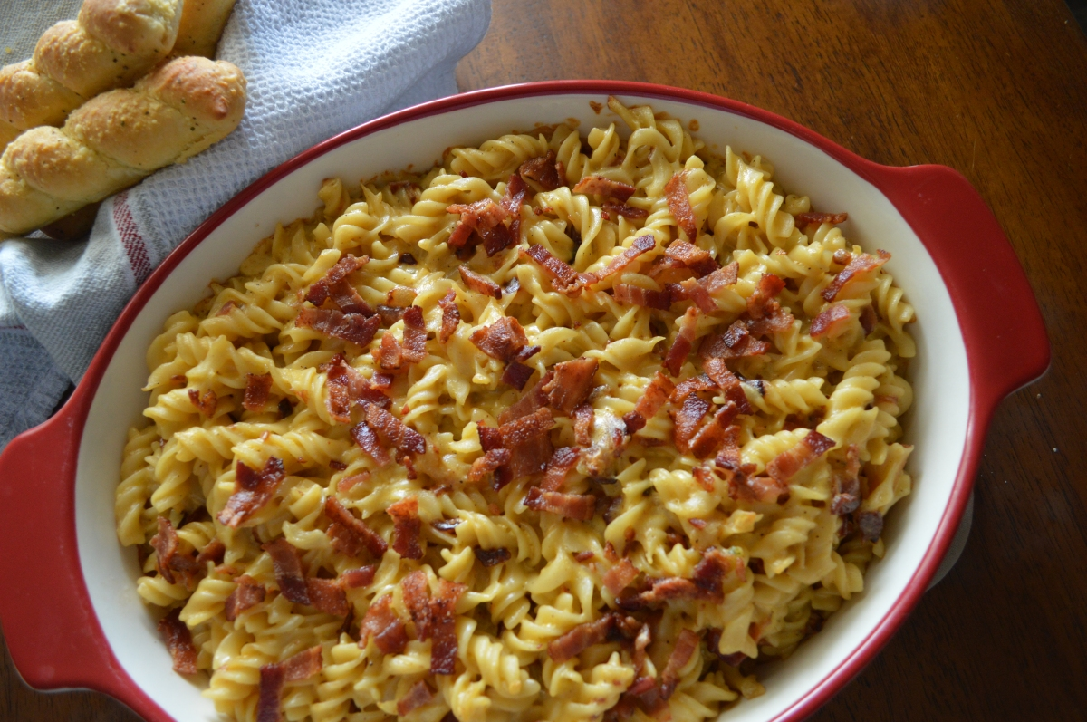 baked mac and cheese ( w/ grilled onions andbacon)