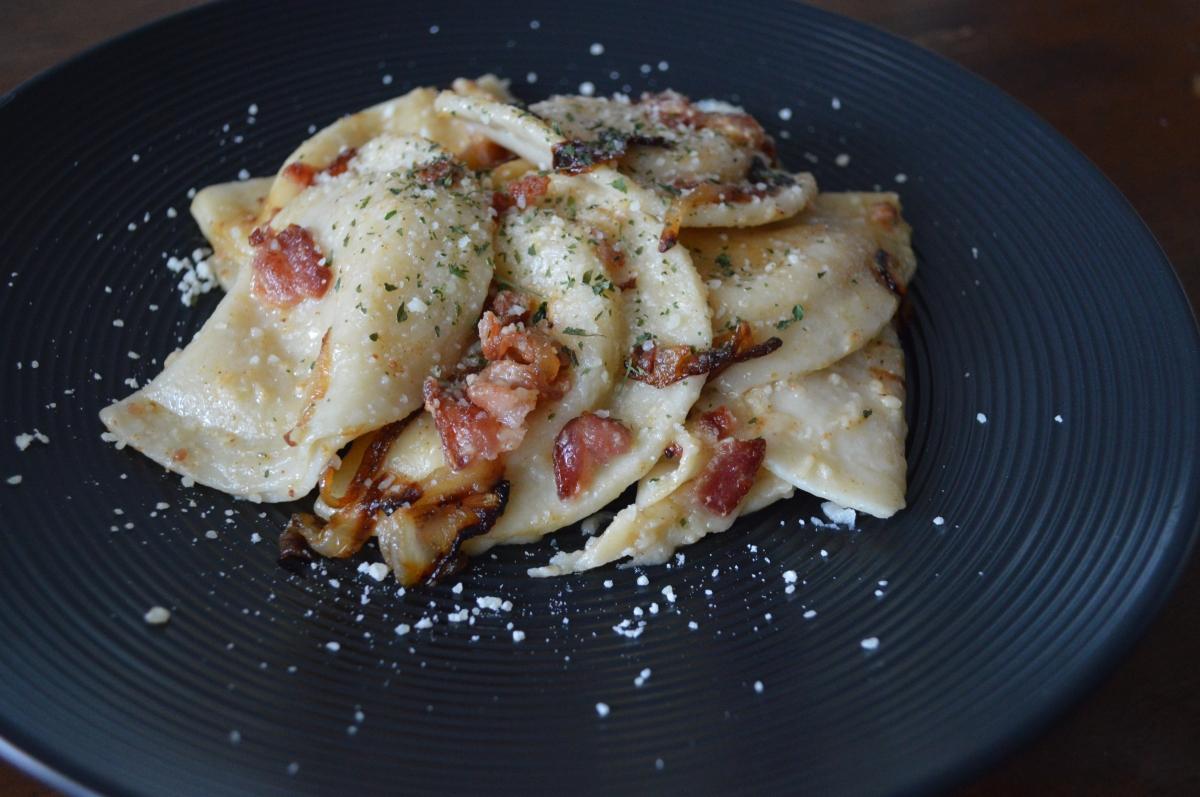 pierogi ( w/ bacon & grilledonions)